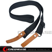 Picture of NB AK Rifle Sling Shotgun Strap Adjustable Webbing Sling With Leather Black NGA1311